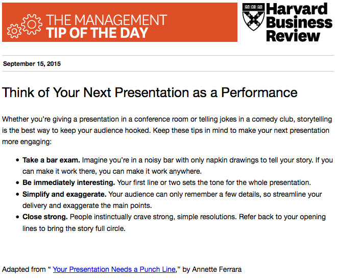 Today's management tip: storytelling is the best way to win an audience over http://t.co/c7ea8TKmmi