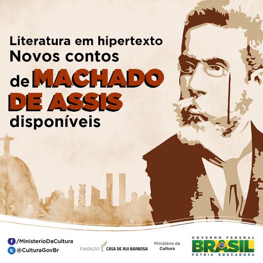 O portal http://t.co/j3GaH80Lp3 reúne e disponibiliza a ficção completa de Machado de Assis. Crédito imagem: MinC http://t.co/oDnTvFUReJ
