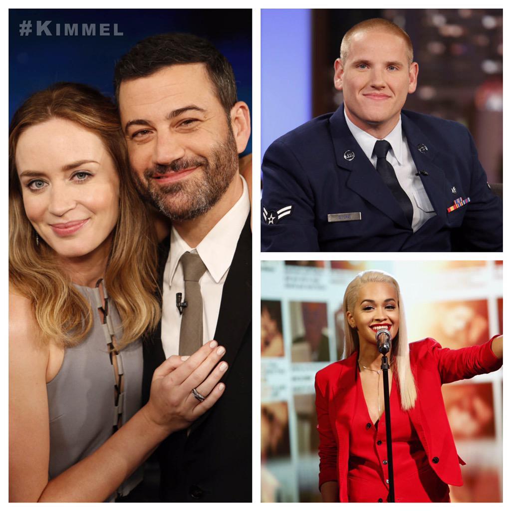 RT @JimmyKimmelLive: Tonight on #Kimmel Emily Blunt #Sicario, #AmericanHero US Airman First Class #SpencerStone & @RitaOra ft. @ChrisBrown …