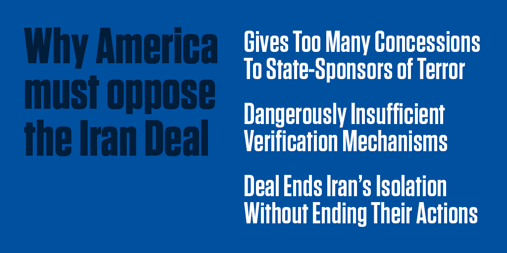 The Iran Deal must be opposed. It is a bad deal for America and our allies. http://t.co/38bEsF3hwF