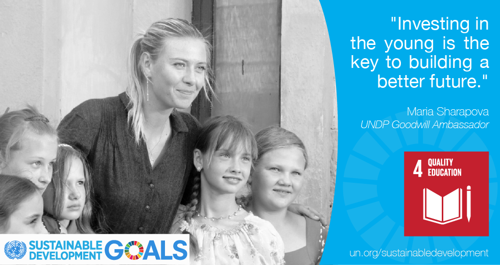 RT @UN: Thanks to @MariaSharapova for helping draw attention to the #GlobalGoals & #action2015! http://t.co/ruQDG7nGSI http://t.co/RhmTyvFS…