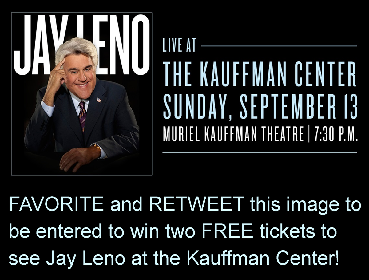FAVORITE and RETWEET this image to be entered to win two FREE tickets to see Jay Leno! http://t.co/CJ92sQUDYR