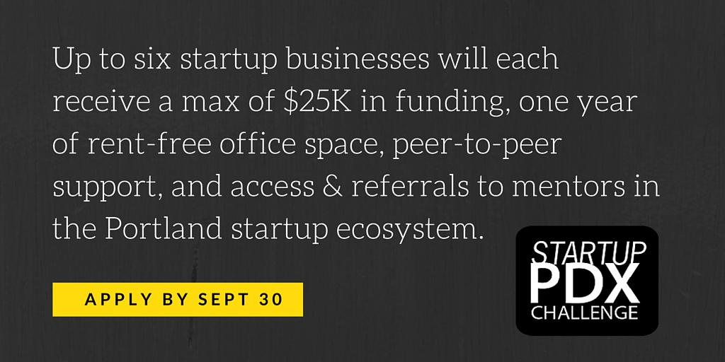 Applications are open for the 3rd annual #Startup #PDXChallenge, w/ focus on diverse founders http://t.co/xvt55UkCUB http://t.co/nHbzIqCI82