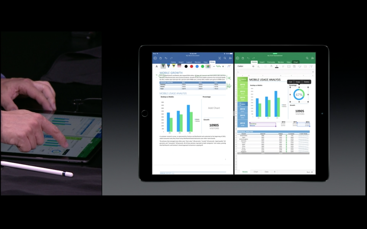 Split-screen iPadPro with Office is very compelling! #AppleEvent http://t.co/yrvGbYwPCu