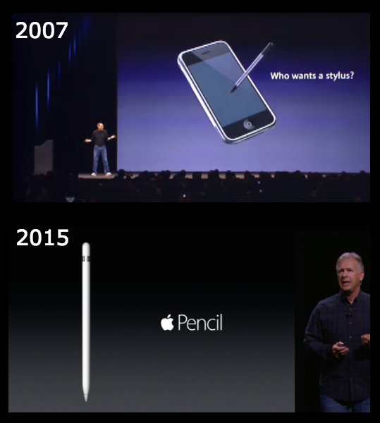 Apple has revealed a stylus for iPad Pro. Steve Jobs did not want one for the iPhone back in 2007. #AppleEvent http://t.co/wP6egwXIjE