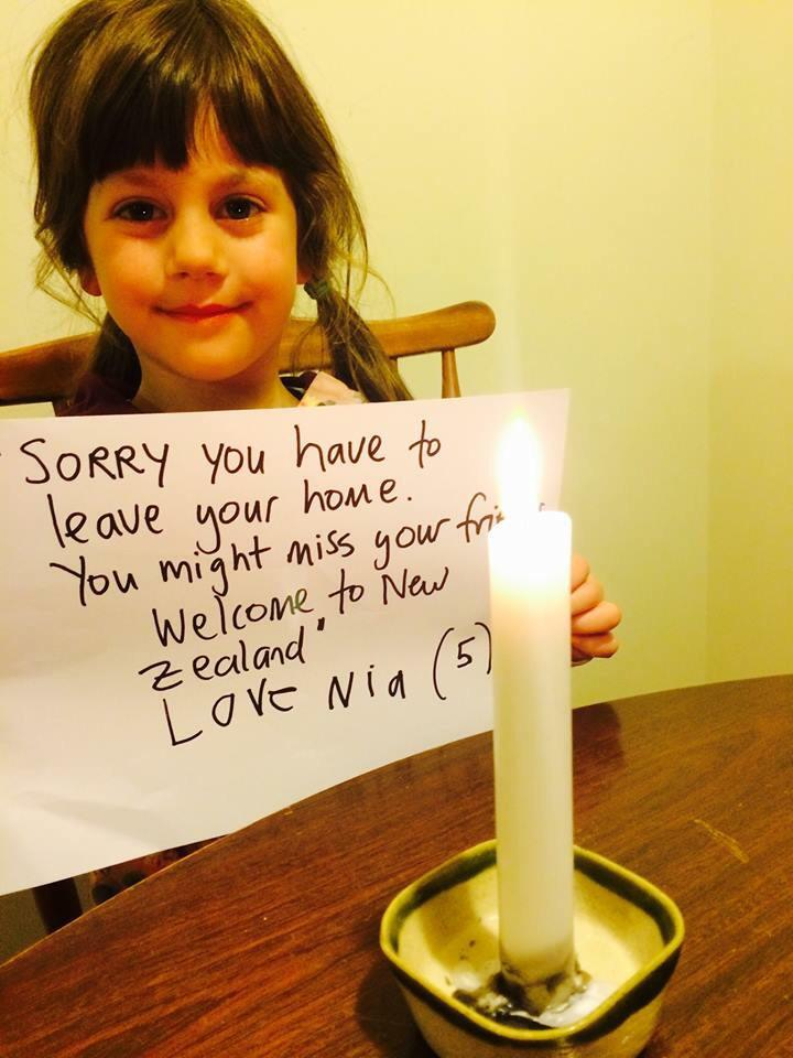 She didn't make it to Parliament but she took a few minutes tonight to say #refugeeswelcomeNZ http://t.co/V61fnXgwLp