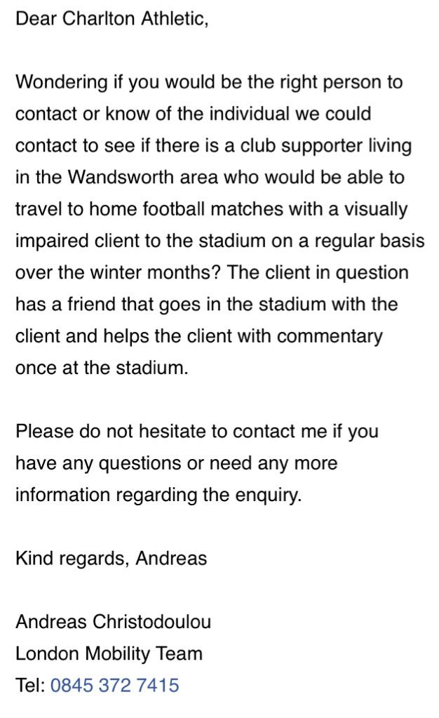 A visually impaired #cafc fan requires help getting to The Valley for home games from Wandsworth. Can you assist? http://t.co/wLDSXuA2XP