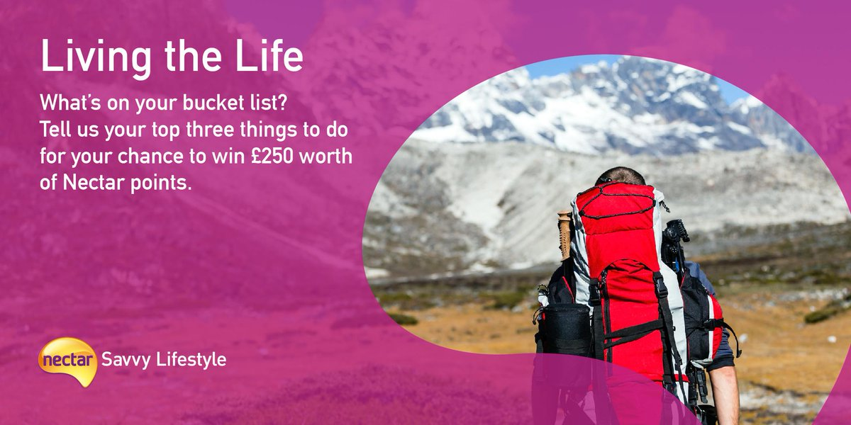 Tell us what are the top 3 things on your bucket list & win! To enter, simply tweet @nectar using #NectarLifestyle. http://t.co/1Hqazlhsqu