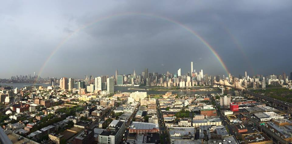Amazing photo of rainbow rising from Freedom Tower over New York City the day before 9/11 taken by @leverageagency http://t.co/xeyIfHk2fc