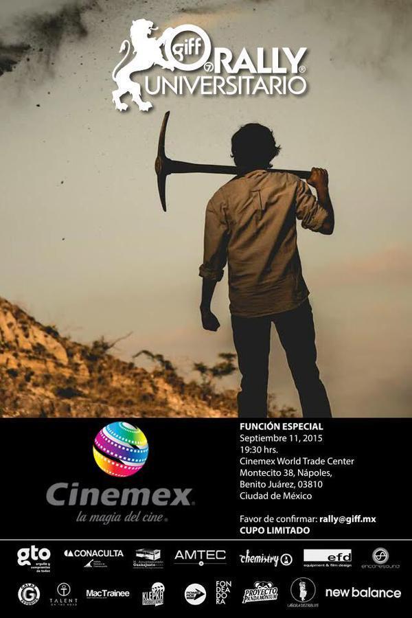 No te puedes perder los cortos del @RallyGIFF el viernes 11 de septiembre a las 7:30 pm en Cinemex WTC @giffmx http://t.co/UBZGnE1Y8T