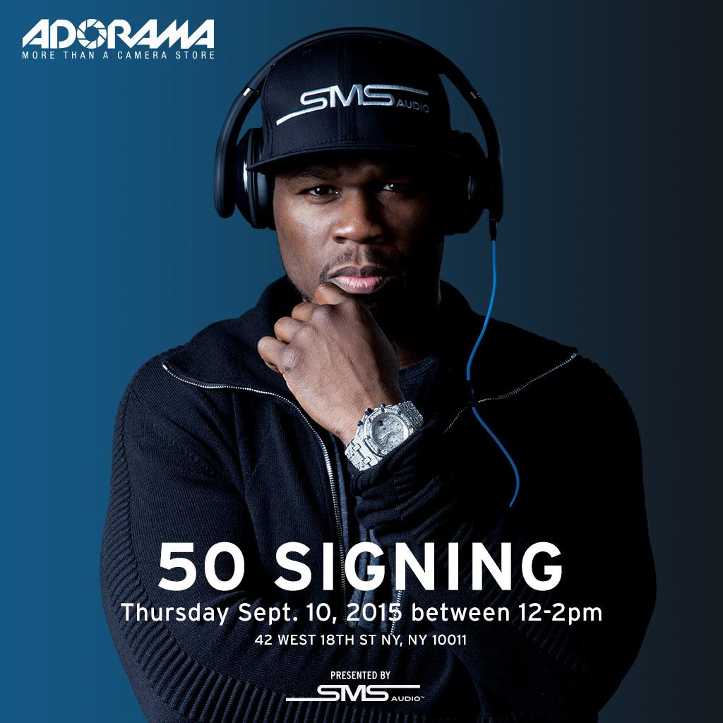 RT @smsaudio: @50cent will be signing autographs between 12-2pm today at @adorama in #NYC. Stop by! #smsaudio #50CentxAdorama http://t.co/x…