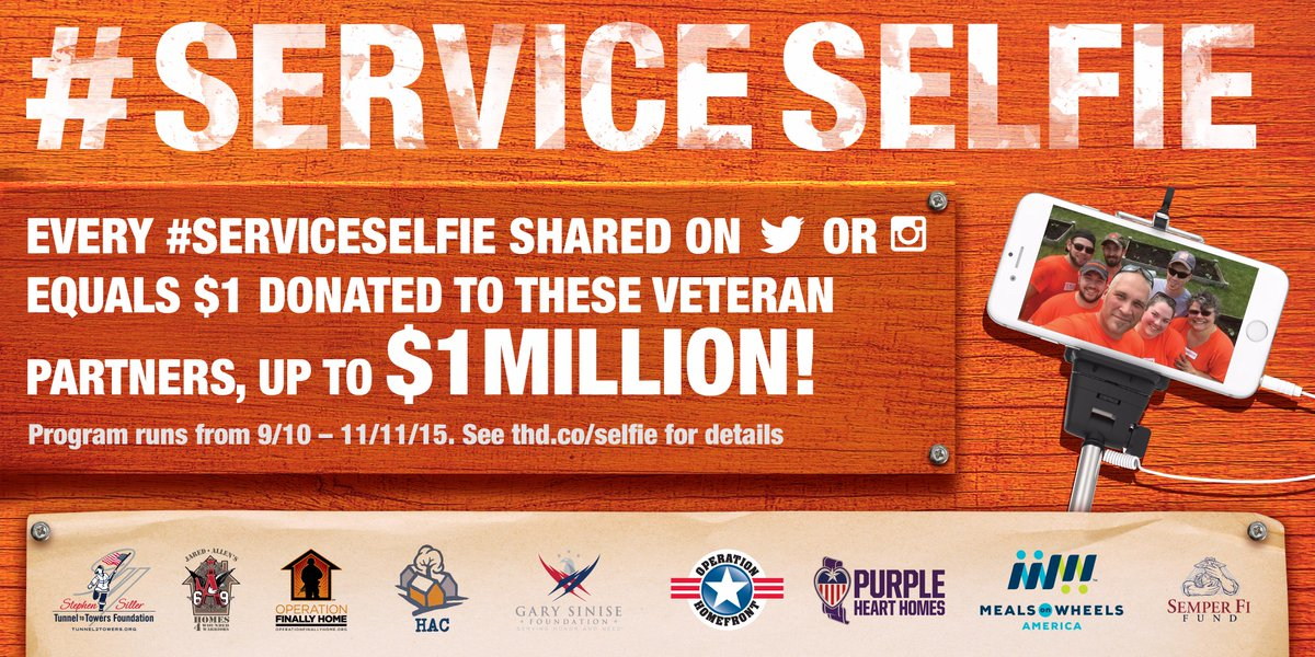Help us celebrate service! Show off your #ServiceSelfie & we'll donate $1/tweet (up to $1M) to orgs supporting vets! http://t.co/SYvPgQq3gZ