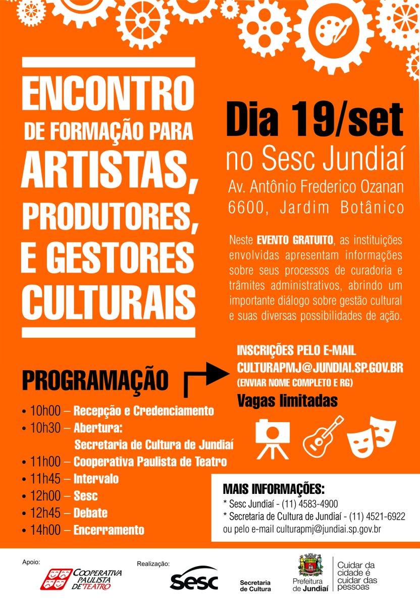 Evento no @sescjundiai vai reunir interessados em cultura Saiba mais: http://t.co/WPgYSqF6yI #CulturaemJundiaí http://t.co/qnHW06sztA