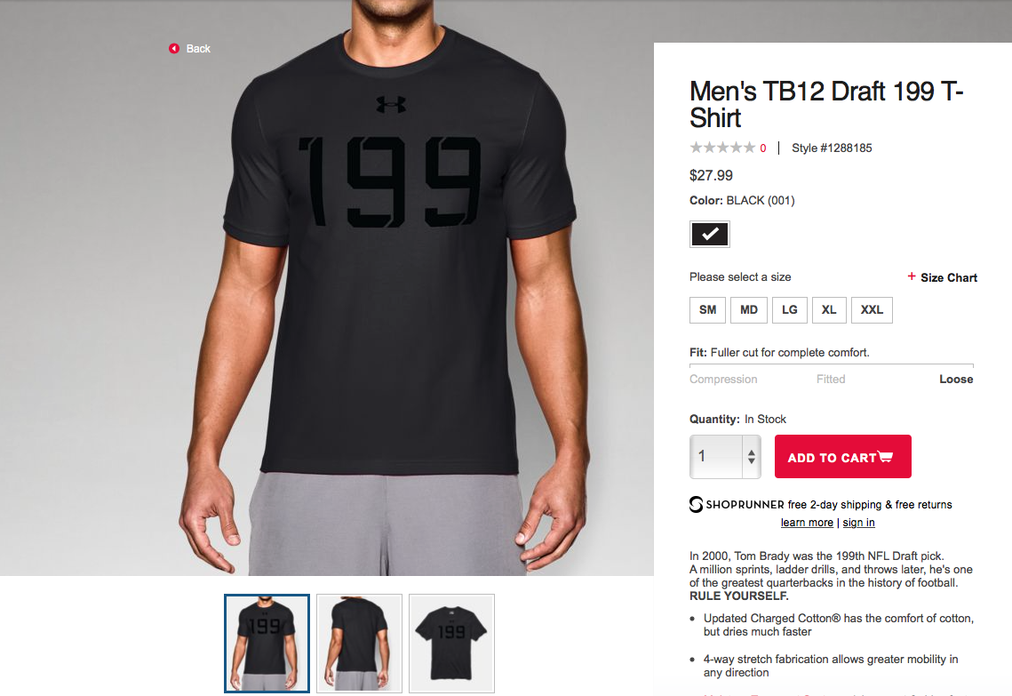 Under armour now selling 199 shirt brady was wearing in for Sell shirts on your website