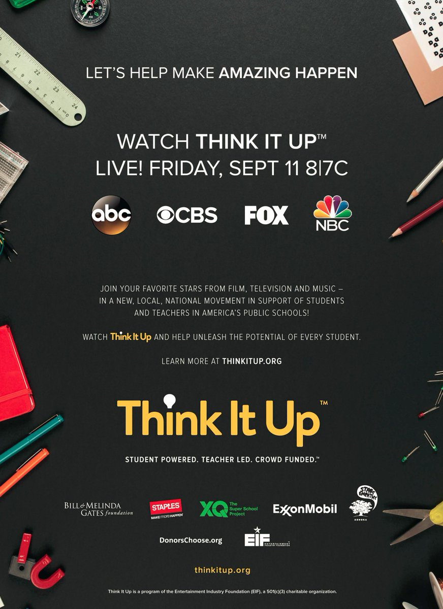 Tune in! The entertainment industry comes together tonight (8/7c) to @Think_It_Up for kids + education! #ThinkItUp http://t.co/4whEE3TCyi