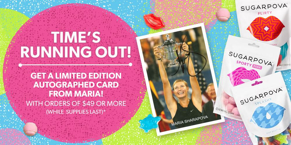 RT @Sugarpova: Get a sweet autographed card from @Mariasharapova while you can! http://t.co/9Z45JYpXan http://t.co/CQrTblHtZu
