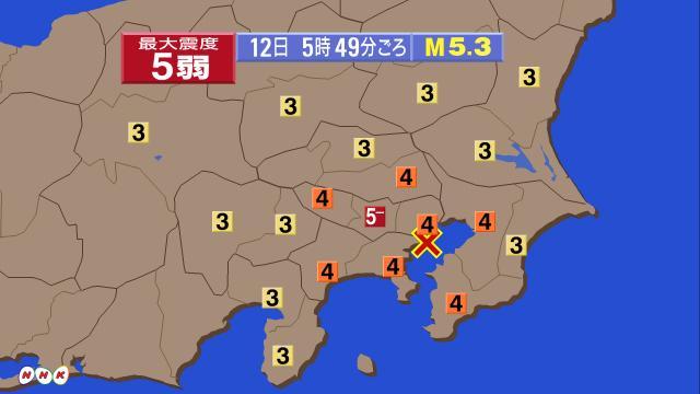 【東京で震度5弱】(再掲)先ほど午前5時49分ごろ関東地方で強い地震がありました。震度5弱を東京・調布市で観測。この地震による津波の心配はありません。揺れが強かった地域の方はけがをしないように落ち着いて行動して下さい。 http://t.co/jhl253Phpw