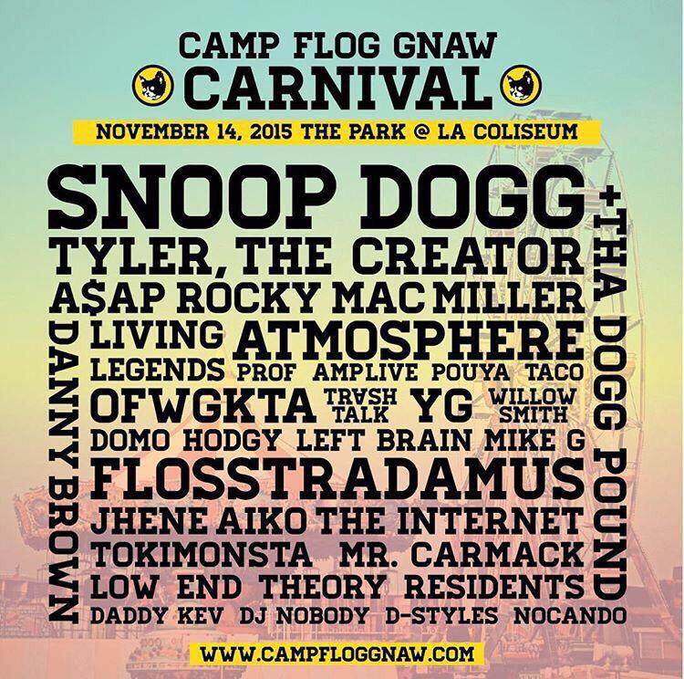 The Internet, Tyler, Mac Miller & OFWGKTA at the Camp Flog Gnaw Carmival http://t.co/4kWyoFfrBc http://t.co/mVHtcN6UyZ