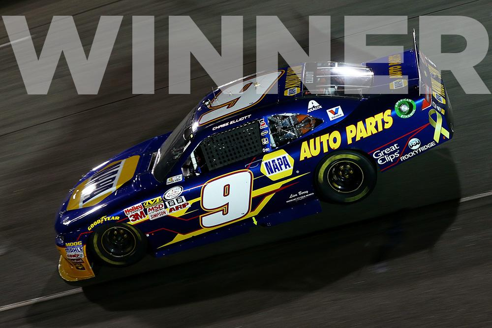 CHECKERED FLAG: @chaseelliott holds off @KyleBusch to capture his first W of 2015!   Retweet to congratulate Chase!