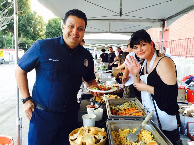 Pauley Perette @PauleyP of NCIS serving our men and women in uniform at our police & fire  ... http://t.co/7gjNsVkFAl http://t.co/szfnYQkwcM