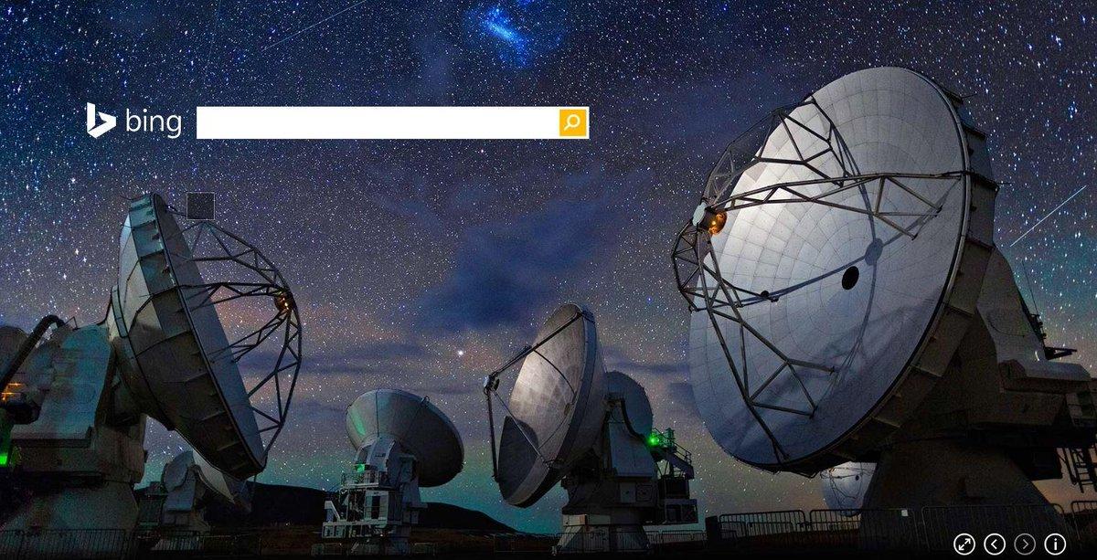今日は宇宙の日!そこでBingホームページはチリ、アンデス山脈の高地砂漠、アタカマ砂漠に作られたアルマ望遠鏡。秋の澄んだ夜空に、宇宙の様子を探ってはいかがでしょう?http://t.co/FCev0DPL9h #BingJP http://t.co/DchHyx0qiM