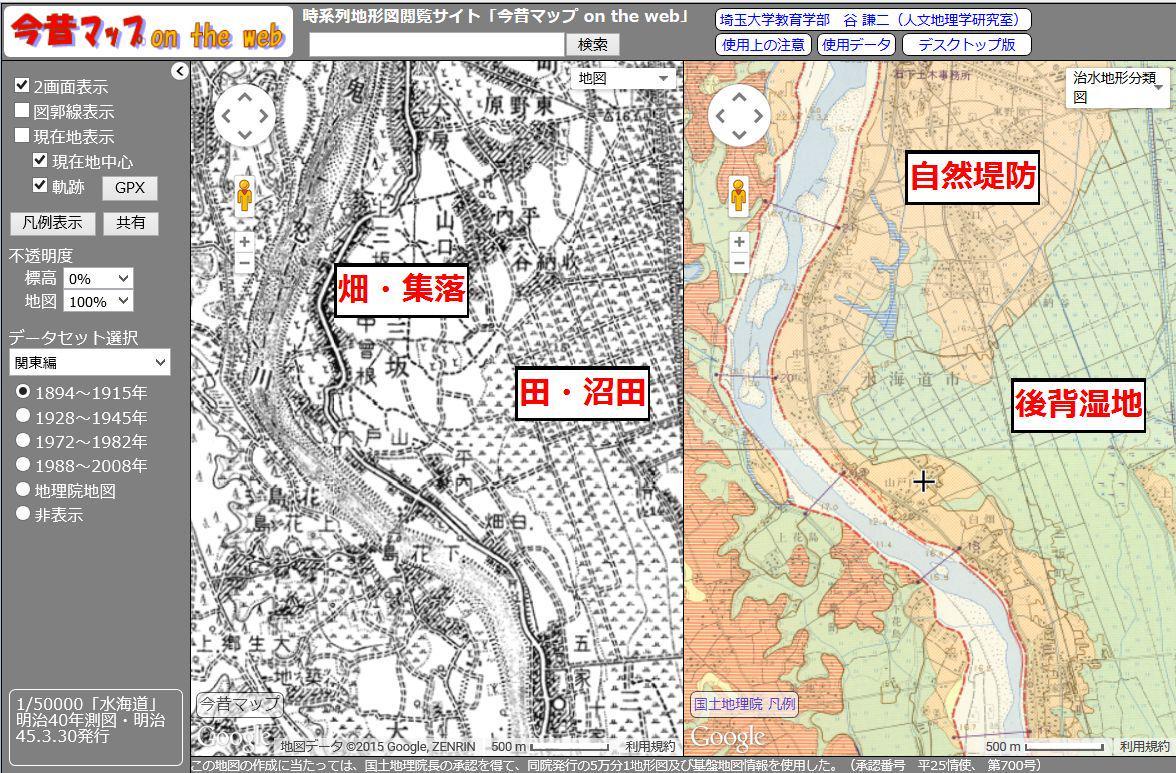 古い地形図を見ると、低地では集落や畑が川の近くにあることが多い。これは洪水の際の土砂の堆積で数m土地が高いため(自然堤防と呼ぶ)。川から離れると、逆に土地は低くなり、水がたまりやすい(後背湿地と呼ぶ)。そのため水田には向いている。 http://t.co/uOzKvUTRWE