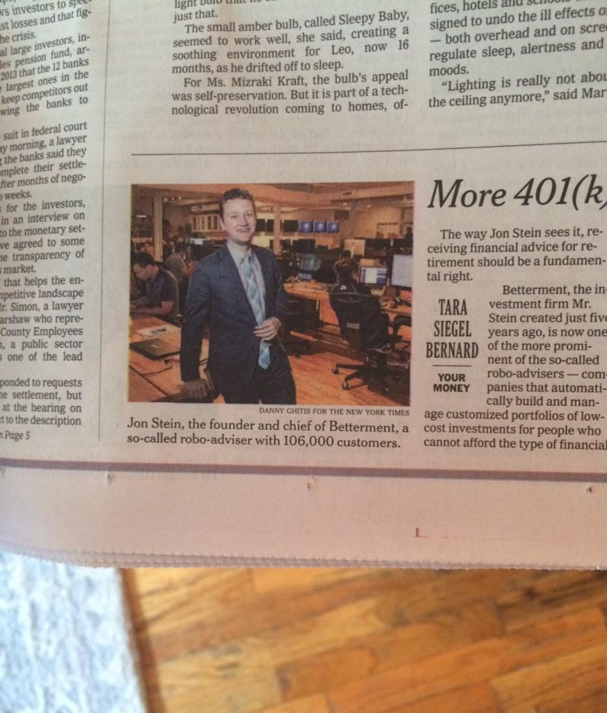 Great way to start the weekend. @Betterment on the front page of @nytimesbusiness. http://t.co/Ah06Tay6rj
