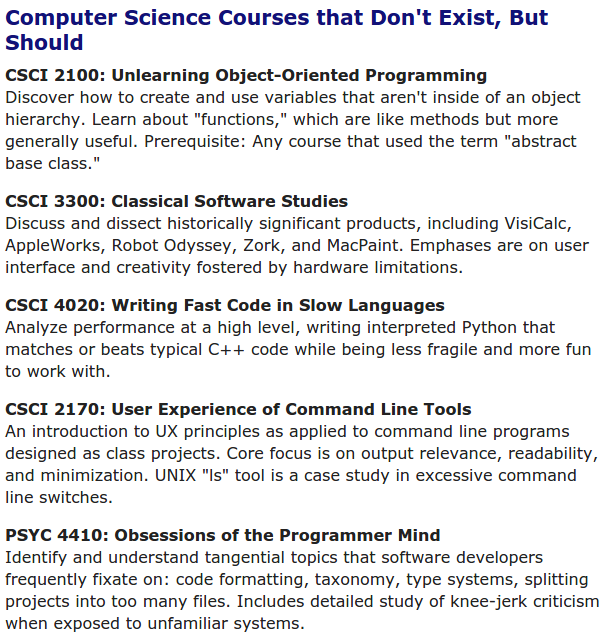 """Computer Science Courses that Don't Exist, But Should"" http://t.co/Z6TPed2JyO http://t.co/cAR8R8tkIX"