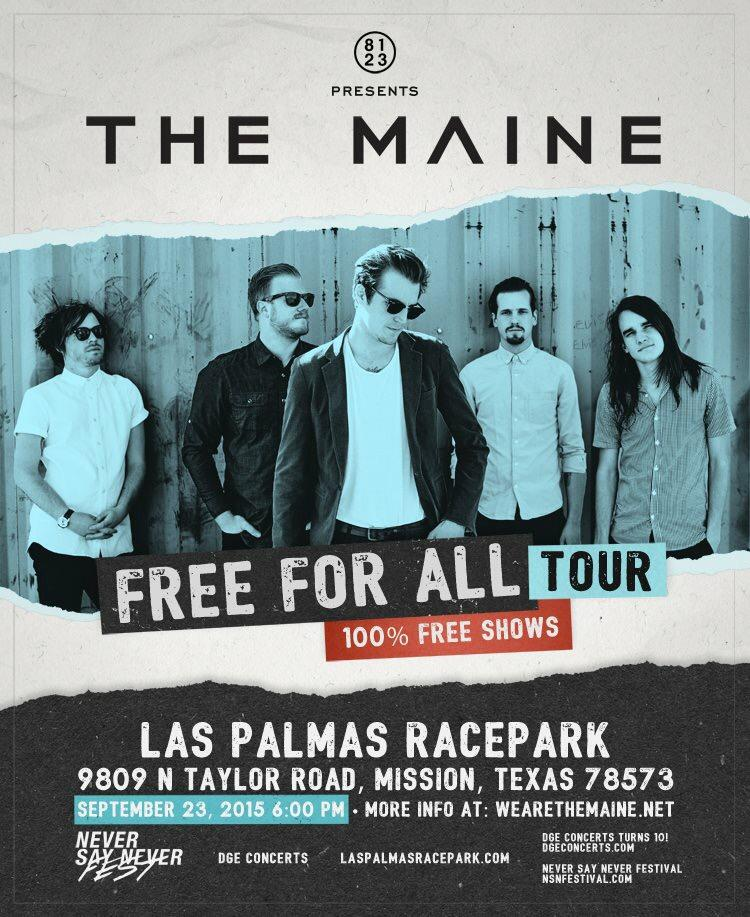 Free concert w/ @themaine at Las Palmas Racepark on September 23! No ticket necessary. RT http://t.co/AJncKiUTf8