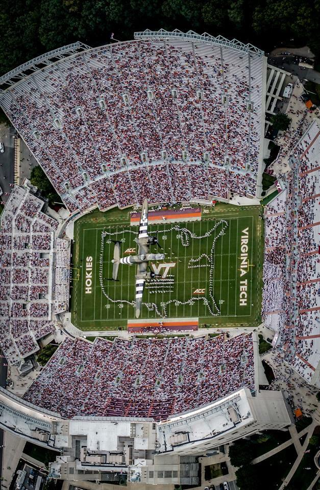 Check out this amazing birds-eye view of yesterday's B-25 flyover at halftime above Lane (via @VTCorpsofCadets) http://t.co/LUUtHO5cHL