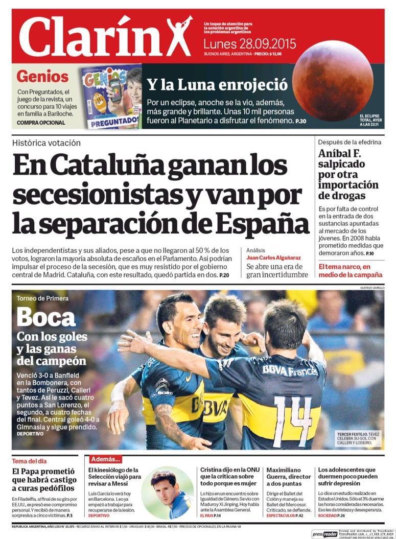 """Clarín (Argentina): """"En Cataluña ganan los secesionistas y van por la separación de España"""" http://t.co/8T9XDC2AZH http://t.co/UVe4PedppY"""