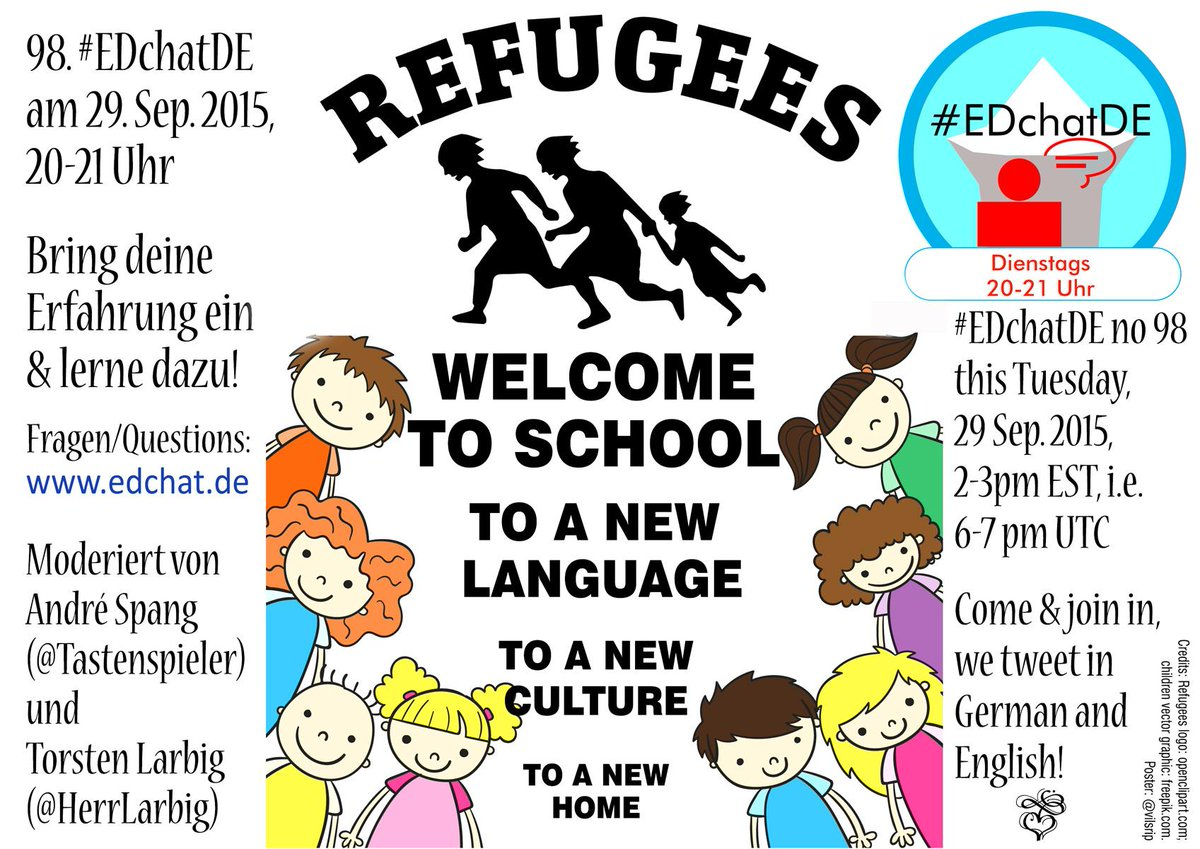 A topic of current urgency - winner of the #EDchatDE vote:   #RefugeesWelcome (to school): How to integrate refugees http://t.co/DQm4esRRZk