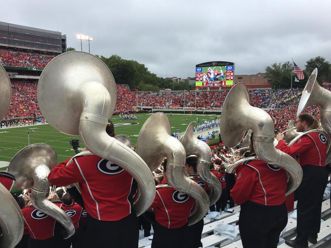 I'll take the #redcoatband everyday! Bleed #red&black baby! #godawgs! #sec #espn http://t.co/0kF35GQEQa