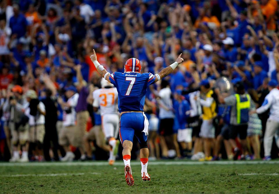 Will Grier celebrates after throwing a TD to Antonio Callaway in the 4th. Photo by @Stamey #Gators #TENNvsUF http://t.co/7YXTzOsXOz