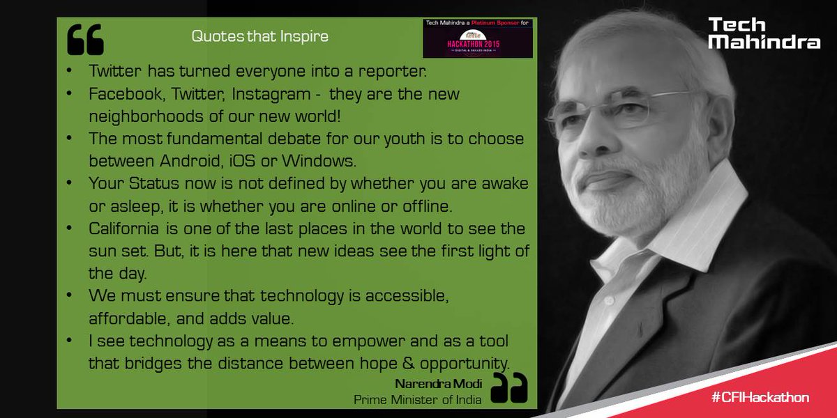 #BestOfPMQuotes @PMOIndia inspired not just a hall full of Tech Titans today but a whole world. #ModiInSiliconValley http://t.co/9PFdwK8UpV