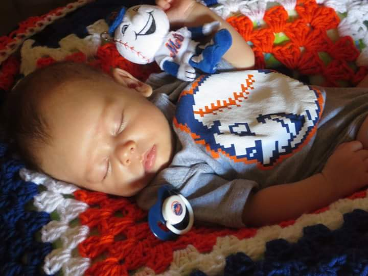 Baby Felix over-did it last night,celebrating the @Mets clincher on his 2 month birthday #snydatastrongfan @The7Line http://t.co/Gg0wE2oTJY