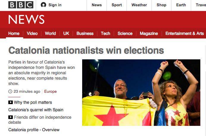 Primera notícia de la BBC: 'Els partits pro independentistes guanyen les eleccions' http://t.co/bpV037f1D8 http://t.co/lT7mSxUVOP