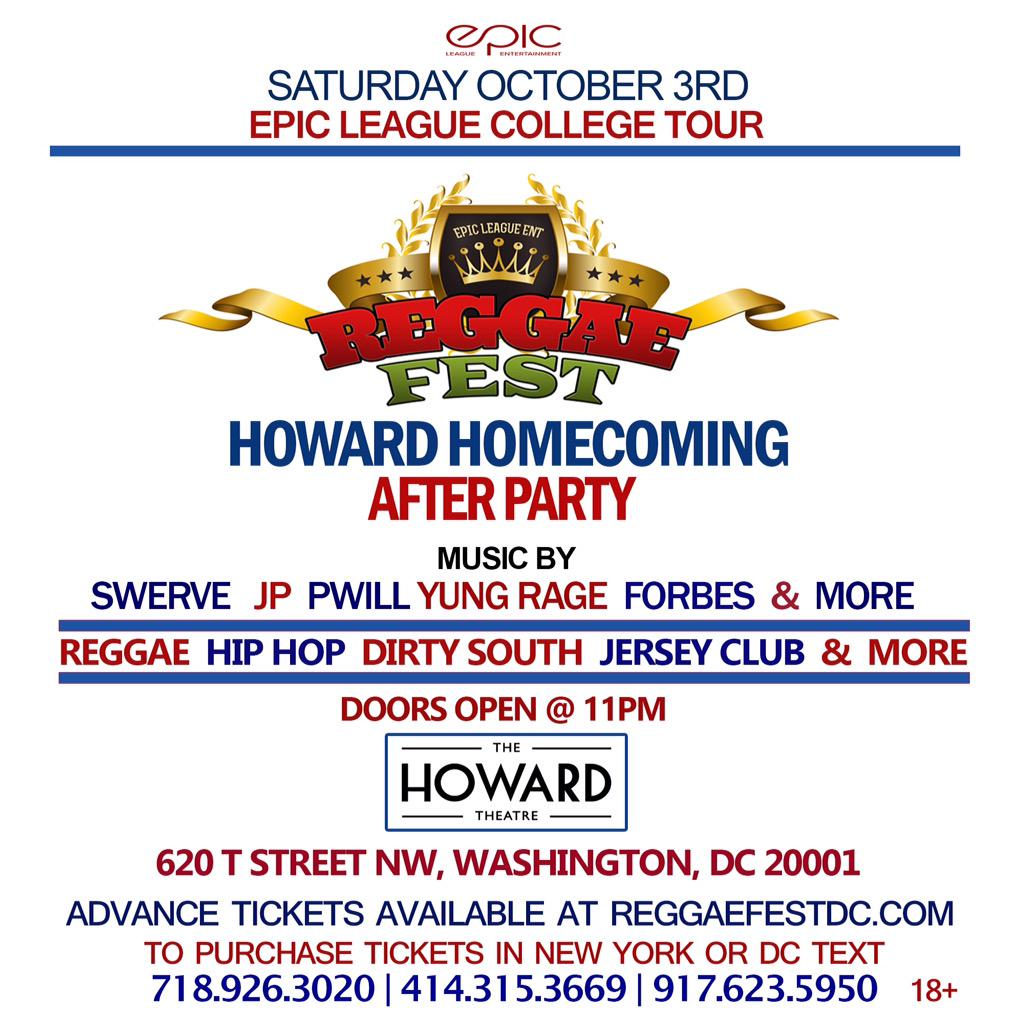 Sat. Oct 3rd it's #ReggaeFestDC #Howardhomecoming After Party @HowardTheatre get tickets at http://t.co/0mXAYepkm7 http://t.co/cuXsw5NmmX
