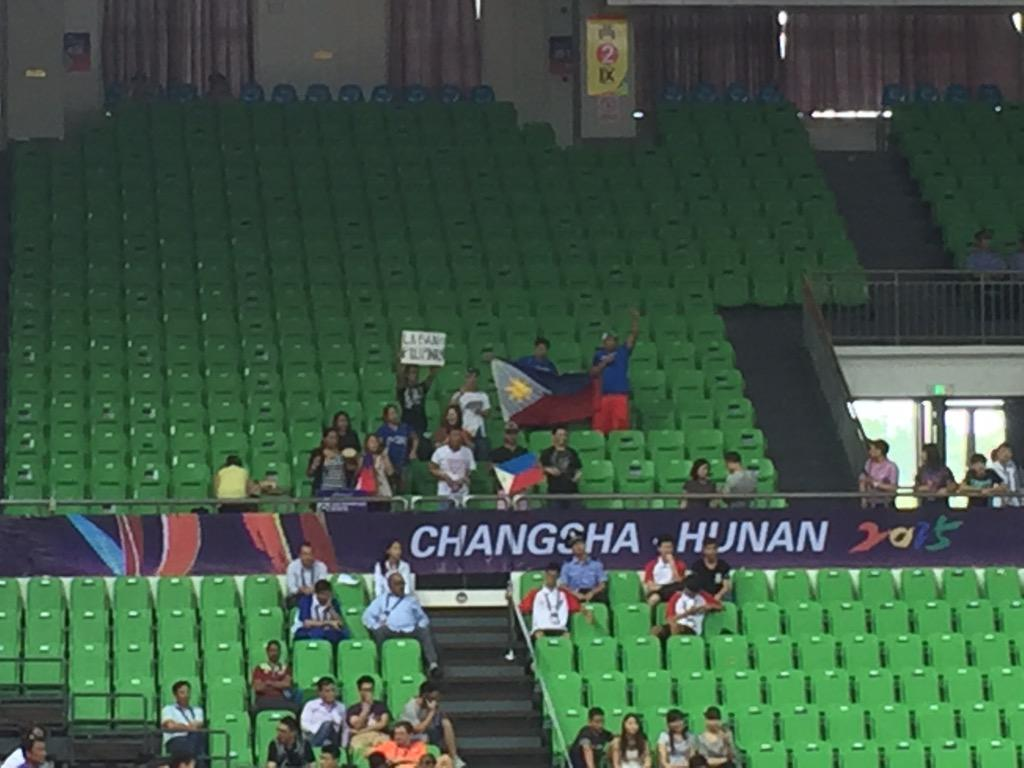 The 15-man member of the Pinoy crowd here! Shouting their guts out for Gilas! #PUSO #LabanPilipinas http://t.co/D32MfFwoCu