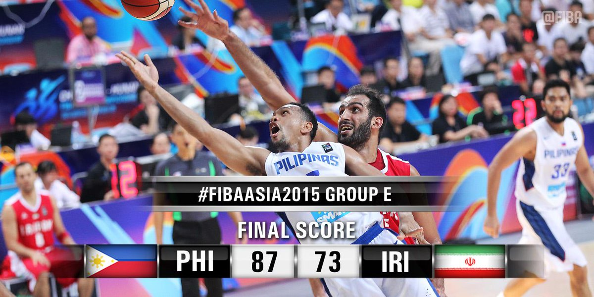 THE PHILIPPINES BEAT IRAN AT THE #FIBAASIA2015!  #PHIIRI boxscore: http://t.co/QFqQ99Y6MS http://t.co/7BOmpnOuEQ