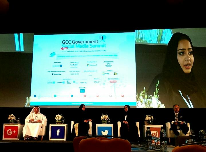 Sheikha Al Maskari/ @uaeyah (from UAE Space Agency) on #gsms15 panel about social media, govt, & smart cities. http://t.co/RExxUofvHb