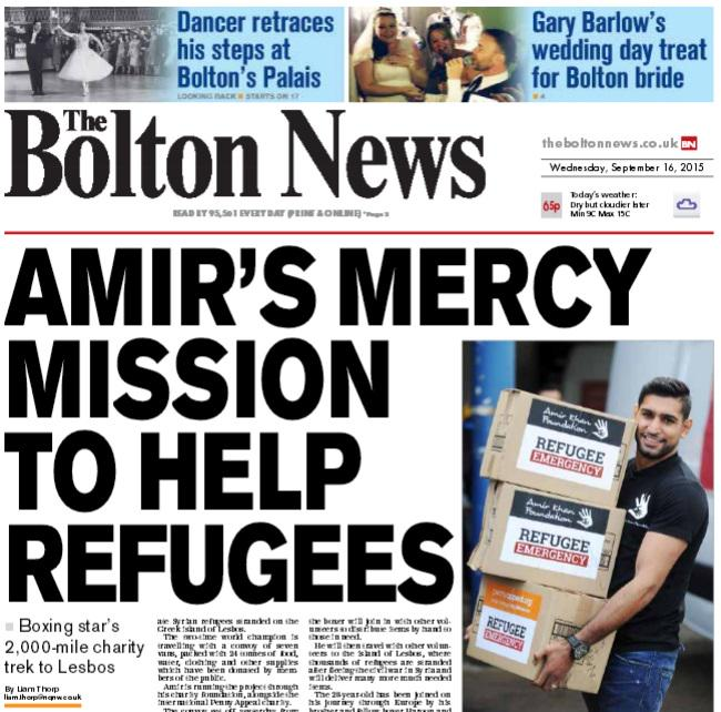 Here's today's Bolton front page featuring @AmirKingKhan 2,000 mile aid mission to Greece http://t.co/4KQU8ieNgQ http://t.co/ObcNPeQqFF