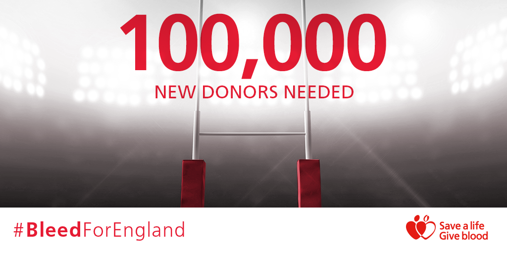 We need 100,000 new people to sign up to #BleedForEngland - 18,000 more than it takes to fill Twickenham stadium! http://t.co/FIgWHIrO4t