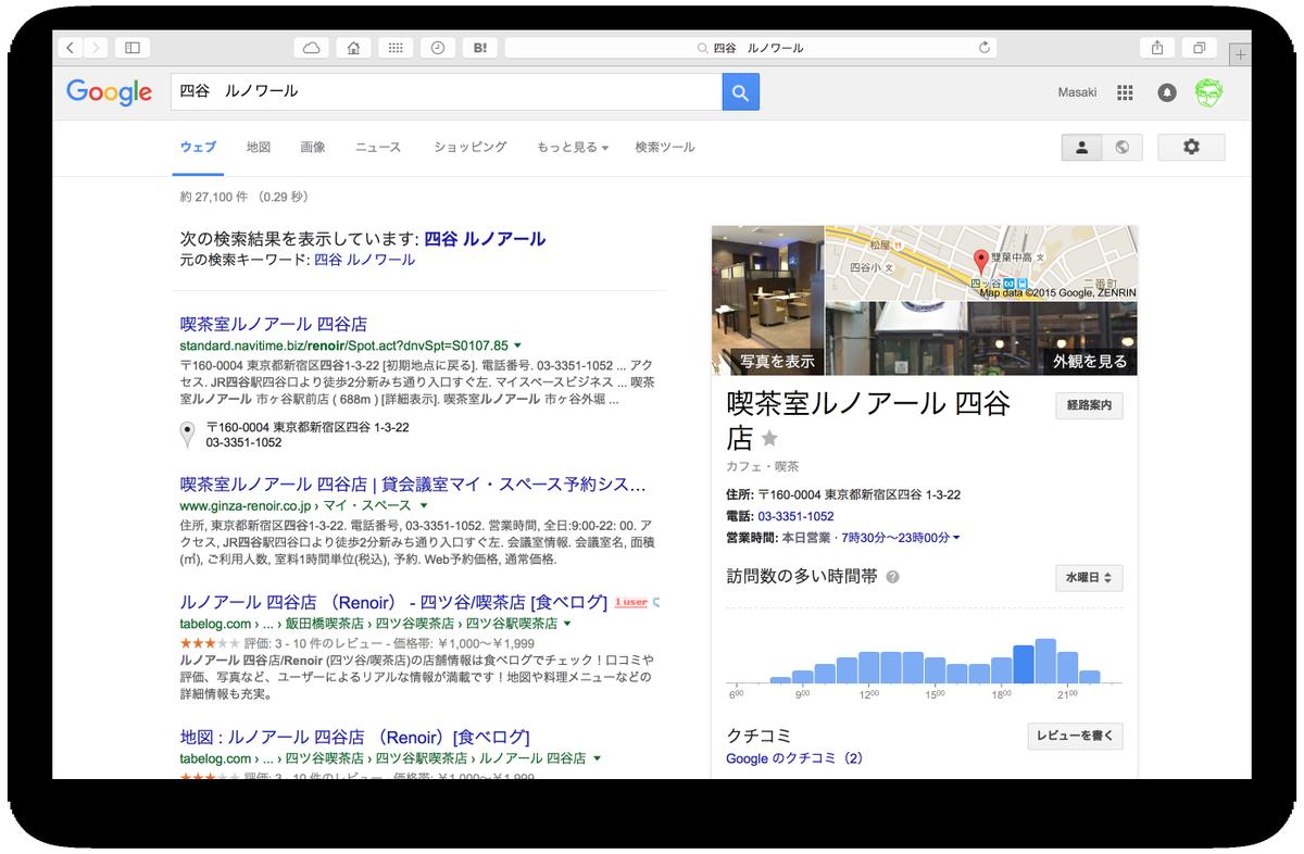 Googleでルノワールを検索したら、曜日ごとにどの時間帯が混んでるのかのグラフが出てきた。すごい便利だけど、こんな機能前からあった? http://t.co/tqY0YCeYlv