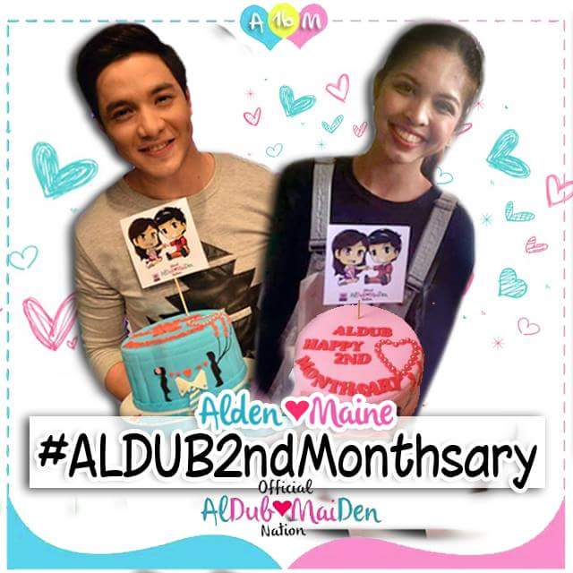 COUPLE CAKE for a COUPLE'S DATE GOD BLESS BOTH OF YOU! WE LOVE YOU! @mainedcm @aldenrichards02   #ALDUB2ndMonthsary http://t.co/o1ViKv24AV