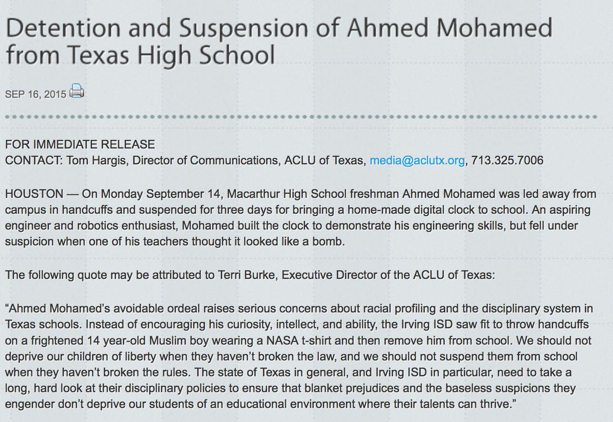 Response to Ahmed Mohamed's Detention and Suspension from Texas High School http://t.co/fazChbXlWD #IStandWithAhmed http://t.co/sg2XG84PHu