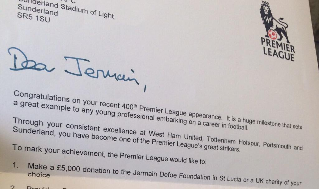 Really grateful for my 400th appearance acknowledgement from @premierleague http://t.co/8xIMie4DKG