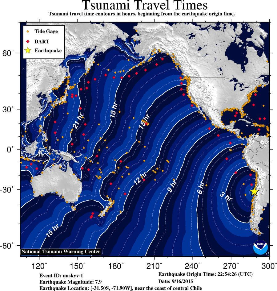 If a widespread #tsunami was generated from 7.9 #Chile #earthquake (3:54 p.m. Pacific), here are travel times. http://t.co/hSoGrRiqow