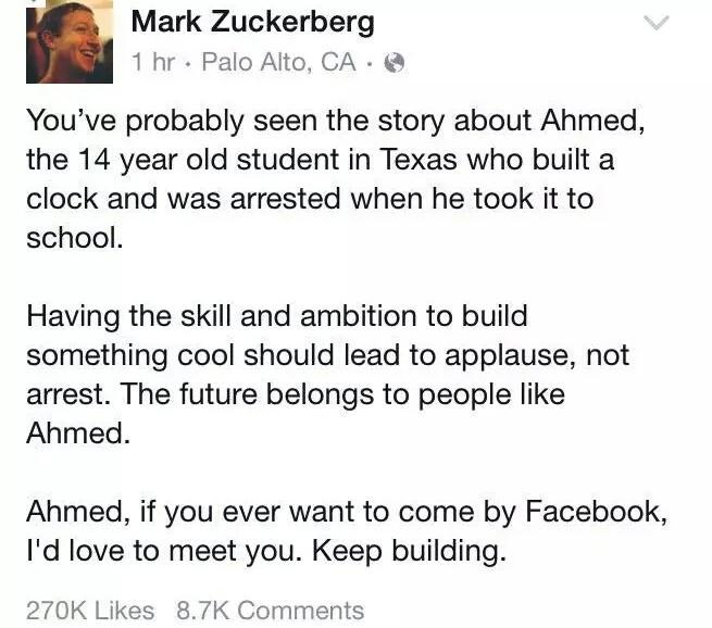 Ahmed went through hard time & now he is representing all innocent Muslims who are not terrorists. #IStandWithAhmed http://t.co/qaeh7Asq0q