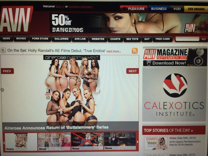 Thank you so much @AdultVideoNews for making @airerose BUTTSLAMMERS reboot front page news! We all ❤️